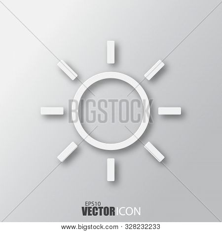 Sun Icon In White Style With Shadow Isolated On Grey Background.