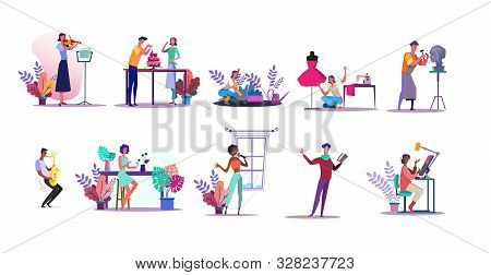 Vocation Illustration Set. People Playing Violin, Sewing, Gardening, Cooking Cake. Creativity Concep