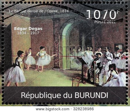 Luga, Russia - October 08, 2019: A Stamp Printed By Burundi Shows Painting The Dance Foyer At The Op