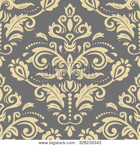 Orient Vector Classic Gray And Golden Pattern. Seamless Abstract Background With Vintage Elements. O