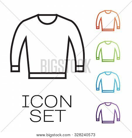 Black Line Sweater Icon Isolated On White Background. Pullover Icon. Set Icons Colorful. Vector Illu