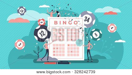 Lottery Vector Illustration. Flat Tiny Bingo Game Win Luck Persons Concept. Gambling Business And En