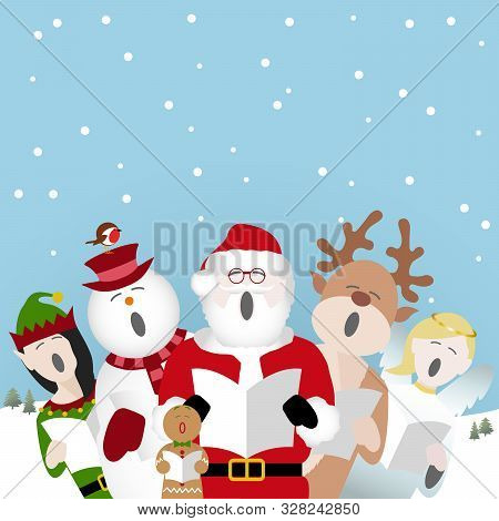 Snowman, Father Christmas, Gingerbread Man, Reindeer, Elf And Fairy Characters Singing Christmas Car