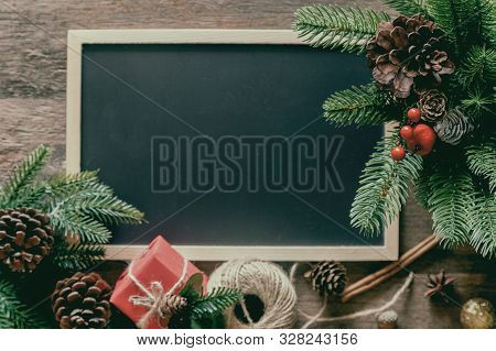 Holiday Christmas Wallpaper With Blackboard Or Chalkboard For Copy Space. Christmas Card Background
