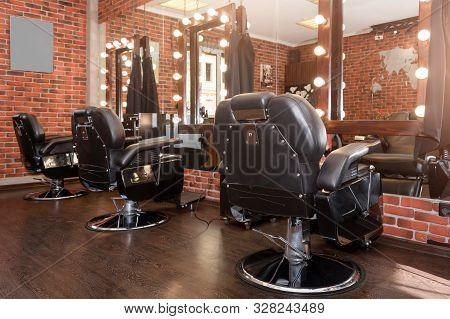 Stylish Vintage Barber Chairs. Modern Hairdresser And Hair Salon, Barber Shop For Men