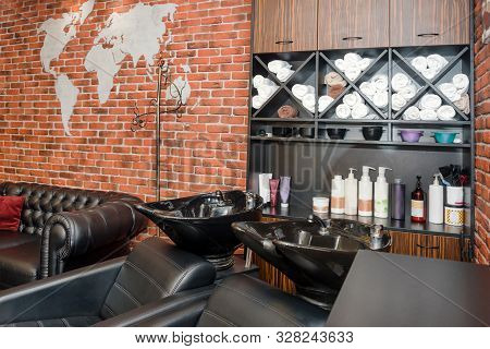 Hairdressers Workplace. Modern Beauty Salon. Hair Salon Interior Business.