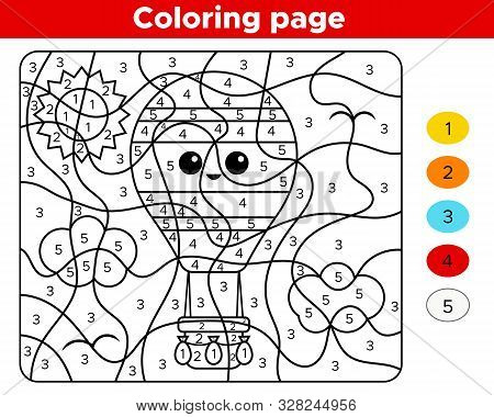 Educational Game - Number Coloring Page. Activity Worksheet For Preschool Children. Kawai Hot Air Ba