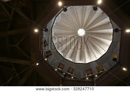 Nazareth, Israel - 10 May 2019: Ceiling Of Church Basilica Of The Annunciation In The Center Of Naza