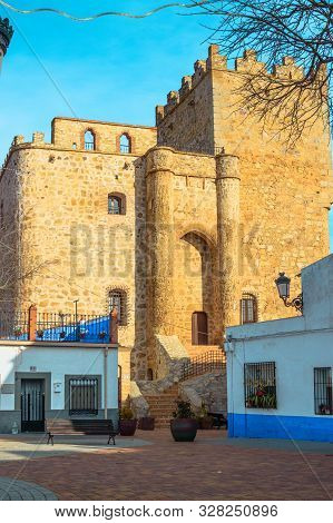 Rear Facade Of The Castle Fortress Of Manzaneque Dated In The 15th Century In Manzaneque. December 2