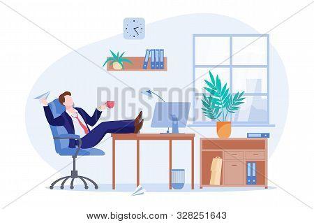Printprocrastinating Lazy Freelancer Or Business Man Sitting At The Desk In Office. Vector Flat Cart