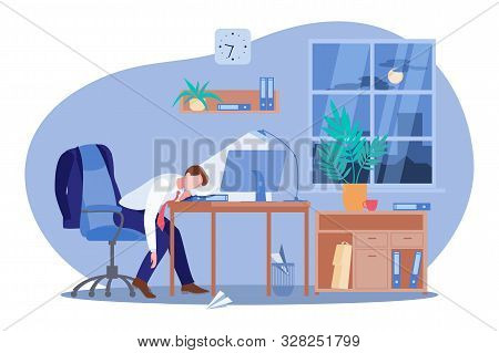 Tired Freelancer Or Business Man Sleeping At The Computer Desk In Dark Office. Vector Flat Cartoon I
