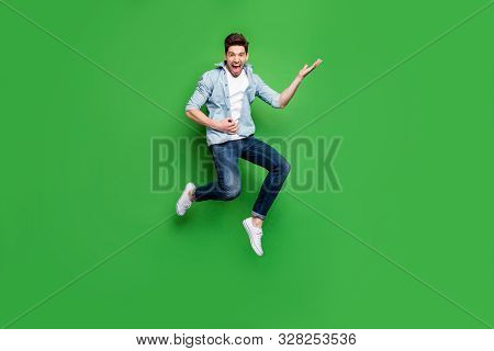 Full Length Body Size Photo Of Cheerful Positive Ecstatic Overjoyed Man Pretending To Be Playing Gui