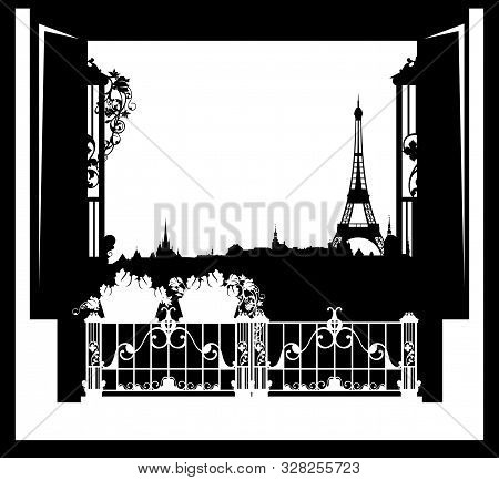 Open Balcony Window With Rose Flowers Pots And View Over Paris - Eiffel Tower And City Skyline Black