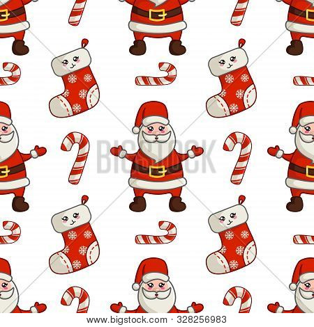 Christmas Seamless Pattern With Kawaii Cute Santa Claus Or Noel, Old Man And Sweet Candy Cane, Endle