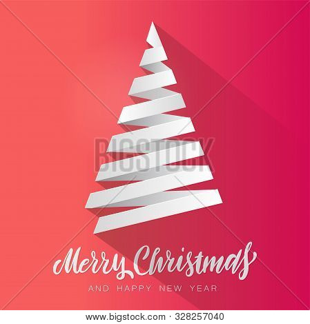 Simple Vector Christmas Tree Made From White Paper Stripe - Original Merry Christmas Card. Volume Pa