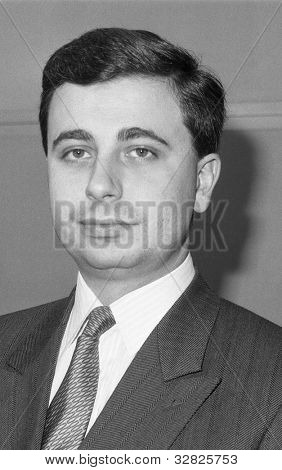 LONDON - DECEMBER 12: John Kennedy, Conservative party Parliamentary Candidate for Newham North East, attends a photo call at Conservative Central Office on December 12, 1990 in London.