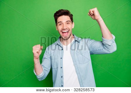 Photo Of Handsome Screaming Shouting Crazy Man Rejoicing About His Victory At Local Contests Isolate