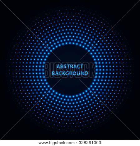 Abstract Stipple Background. Blue Luminous Circles. Azure Glowing Circle. Indigo Light Ring. Ultrama