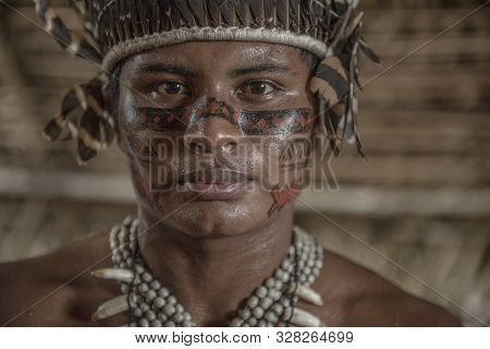 Manaus, Amazonas, Brazil - August 16, 2016: Indigenous Brazilian At Dessana Village, A Touristic Vil