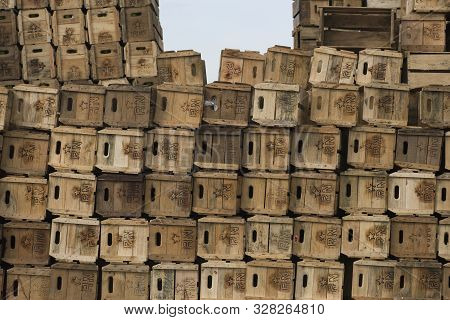 Sao Paulo, Sao Paulo, Brazil - December 15, 2015: Stacked Assembling Boxes For Fruits And Vegetables