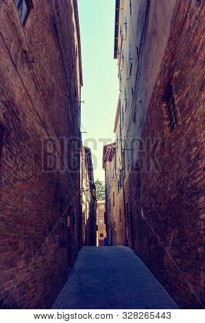 Narrow Street In Urbino Town In Italy