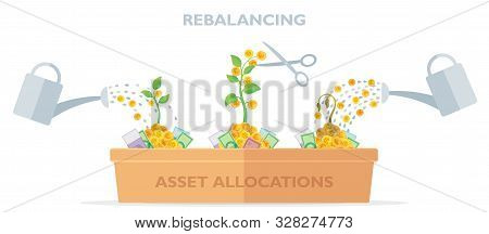 Flat Style Vector Illustration Of Asset Allocations And Re-balancing: Growing Money Trees With Water