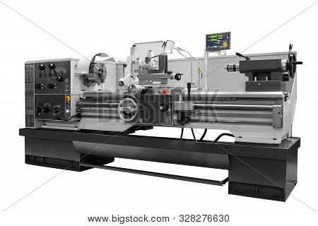 Manufacturing Professional Lathe Machine . Industrial Concept. Programmable Modern Digital Lathe Wit