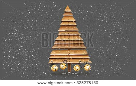 Christmas Firtree For Holiday Made Of Old Wooden Board Planks Decorated With Golden Jingle Bells. Id