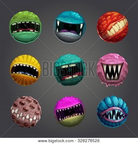 Enemy Bubble Concept. Crazy Cartoon Colorful Balls With Creepy Mouths.
