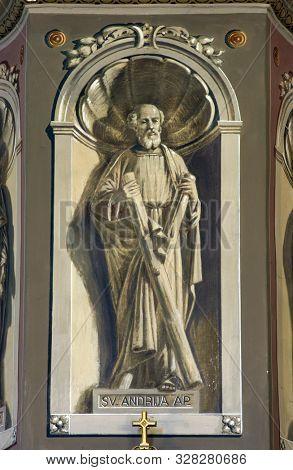 IVANIC GRAD, CROATIA - SEPTEMBER 25, 2011: Saint Andrew the Apostle, fresco in the church of the Saint Peter in Ivanic Grad, Croatia
