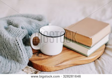 Books And Coffee Cup. Breakfast In Bed. Sweet Home. Good Morning. Atmospheric Hygge Style. Flat Lay,