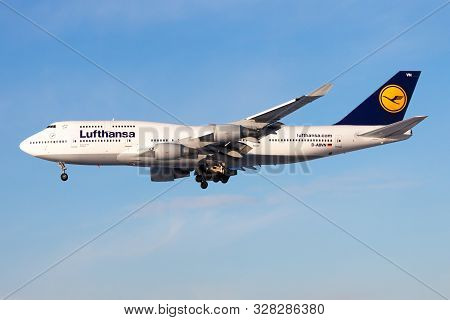 Frankfurt / Germany - December 8, 2012: Lufthansa Boeing 747-400 D-abvn Passenger Plane Landing At F