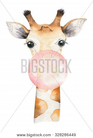 A Poster With A Baby Giraffe. Watercolor Cartoon Giraffetropical Animal Illustration. Jungle Exotic