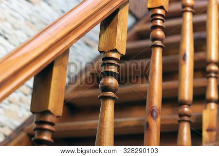 Stairs. Railing Of A Wooden Staircase. Indoors