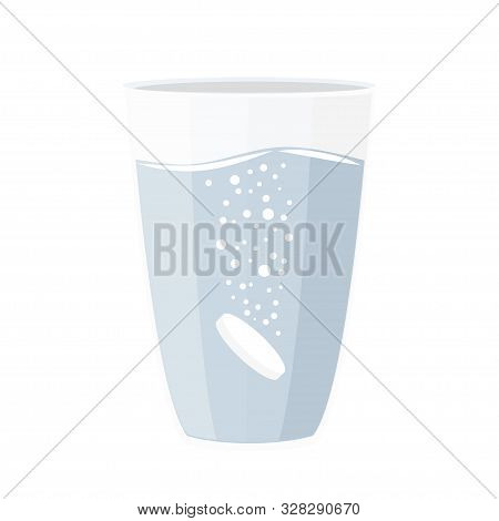Effervescent Tablet In Glass Of Water. Simple Vector Illustration.
