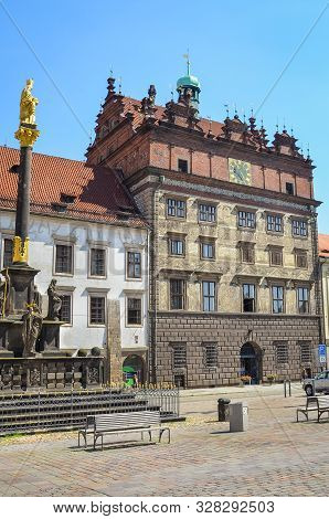Pilsen, Czech Republic - June 25, 2019: The Main Square In Plzen, Czechia With Rennaisance City Hall