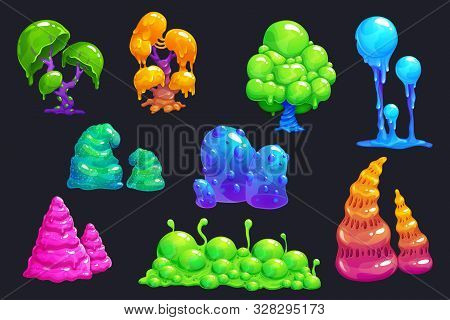 Fantasy Slime Plants. Alien Slimy Mushrooms Set.