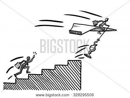 Freehand Pen Drawing Of Business Man On Paper Airplane Snatching Up A Prize Trophy Atop Career Stair