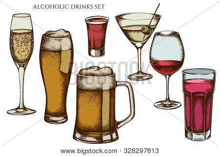 Vector Set Of Hand Drawn Colored Glass, Mug Of Beer, Alcohol Shot, Glass Of Champagne, Glass Of Wine