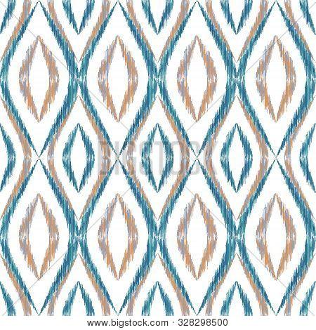 Ikat Ogee Seamless Vector Pattern Design. Ethnic Fabric Print Geometric Ikat Pattern. Modern Ogee Se