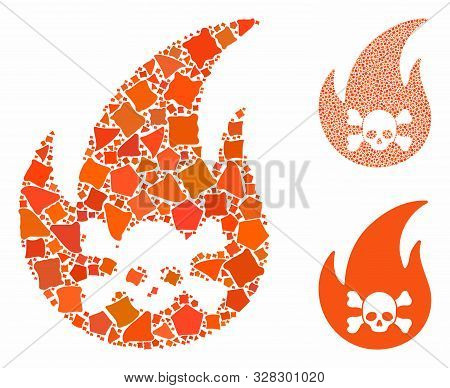 Hellfire Composition Of Irregular Elements In Variable Sizes And Shades, Based On Hellfire Icon. Vec