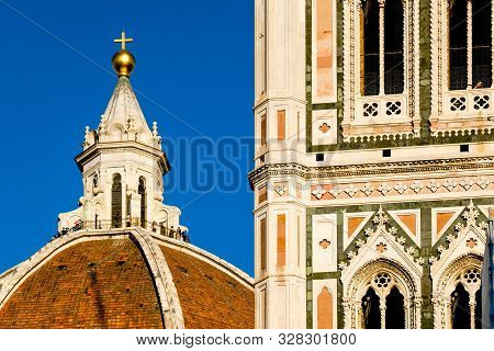 Giottos Bell Tower Detail And Duomo Lantern Of Santa Maria Del Fiore, Florence, Italy