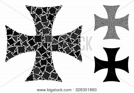Maltese Cross Composition Of Joggly Items In Variable Sizes And Color Tinges, Based On Maltese Cross
