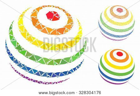 Lgbt Color Stripes Abstract Sphere Mosaic Of Rough Elements In Various Sizes And Color Tones, Based