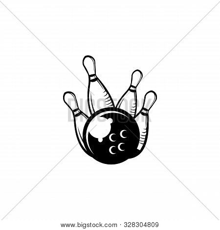 Style Bowling Logo, Icons And Symbol. Bowling Ball And Bowling Pins Illustration. Trendy Design Elem