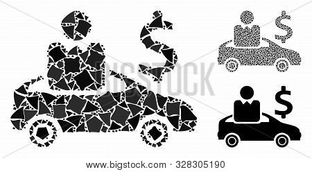 Car Buyer Mosaic Of Raggy Elements In Various Sizes And Shades, Based On Car Buyer Icon. Vector Bump