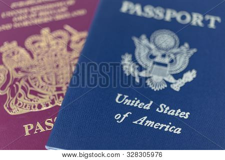 London / Uk - October 9th 2019 - Uk And Us Passports, Extreme Closeup Macro With A Shallow Depth Of