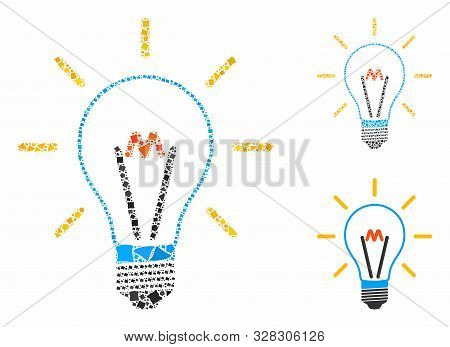 Invent Bulb Mosaic Of Rough Parts In Different Sizes And Color Tints, Based On Invent Bulb Icon. Vec