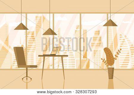 Empty Modern Business Ceo Room Design Workplace. Creative Office Workspace With Big Window Desktop L