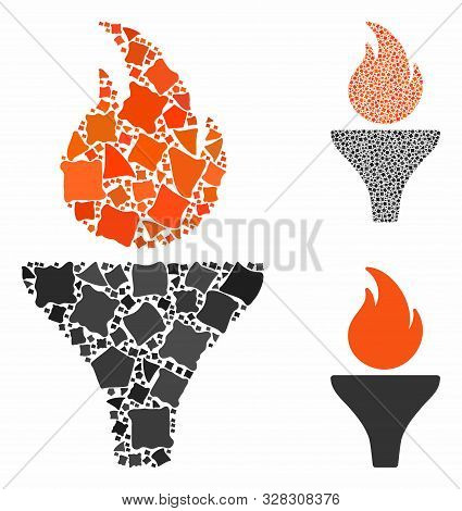 Fire Torch Composition Of Rugged Pieces In Different Sizes And Shades, Based On Fire Torch Icon. Vec